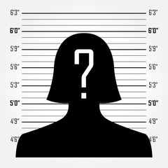 Woman silhouette with question mark in mugshot or police lineup background