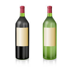 Two bottles of wine red and white in a realistic manner. Vector
