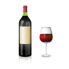 A bottle of red wine with and elegant wineglass. Realistic vecto