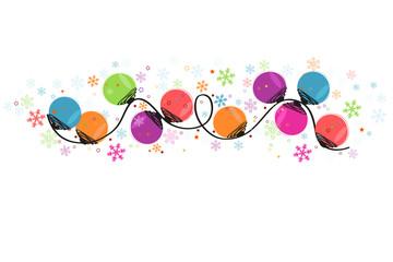 Circle christmas light bulbs vector and snowflakes greeting card