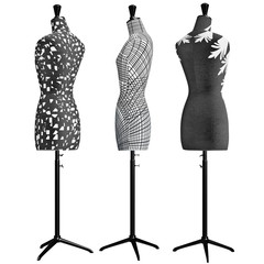 Female mannequins the front with patterned some of elements