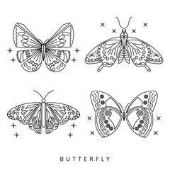 butterfly line icon set, logo vector, isolated on white backgrou
