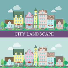 City landscape vector illustration.