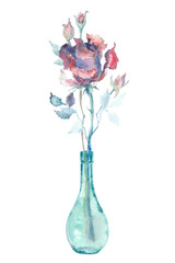 Watercolor rose in a small glass bottle