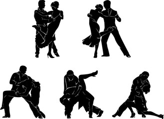 Tango, dance, dancers, silhouette, graphics