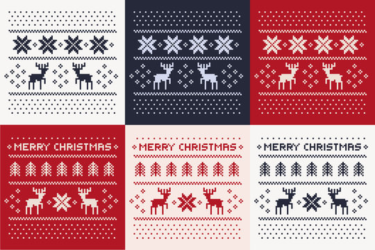 christmas winter pattern print set for jersey or t-shirt. Pixel deers and christmas trees.