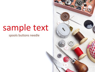 Spools threads buttons  needle for sewing