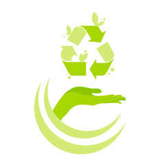 Hand Open Palm Recycle Symbol Logo Green Icon Vector