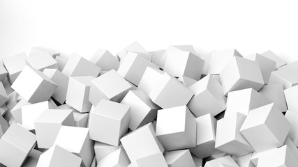 3D white cubes pile, isolated on white with copy-space