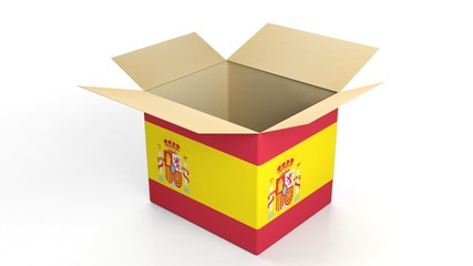 Carton box with Spain national flag, isolated on white background.