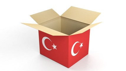 Carton box with Turkey national flag, isolated on white background.