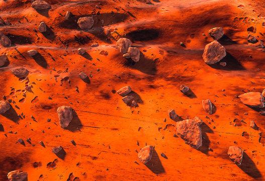 Surface of Mars - rocks, meteorites, dry martian ground