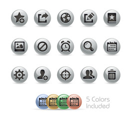 Web and Mobile Icons 2 // Metal Round Series - Vector file includes 5 color versions.