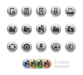 Web and Mobile Icons 3 // Metal Round Series - Vector file includes 5 color versions.