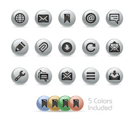 Web and Mobile Icons 9 // Metal Round Series - Vector file includes 5 color versions.