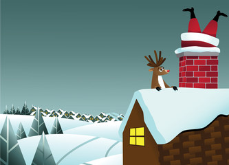 Reindeer sees Santa Claus stuck in the chimney background. EPS 10 vector, grouped for easy editing. No open shapes or paths.