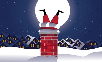 Santa Claus stuck in the chimney background. EPS 10 vector, grouped for easy editing. No open shapes or paths.