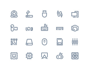 Computer components icons. Line series