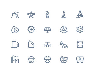 Petrol and power generation icons. Line series