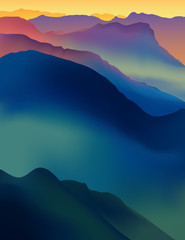 Landscape with colorful mountains at sunset or dawn.