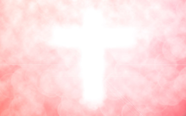 abstract blurred christ cross over pink color background with bokeh circle lights:blur religious backdrop concept:blurry power of religion conceptual.