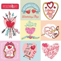 Wedding cards set.Invitations,Labels,decorative element kit
