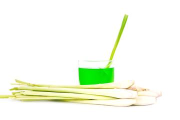 Cold lemongrass drink and fresh lemongrass