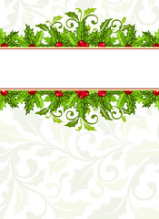 Christmas background with holly berries and leaves