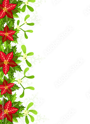 Christmas Background With Red Poinsettia Mistletoe And Holly Leaves Decoration Elements Vertical Banner