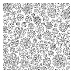 Pattern for coloring book. Ethnic, floral, retro, doodle, vector