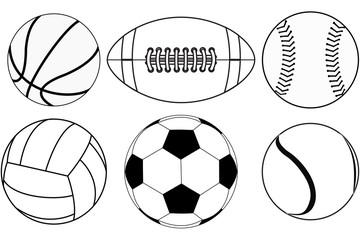 Basketball ball, Baseball ball, American football ball, Volleyball, Soccer ball, Tennis ball.