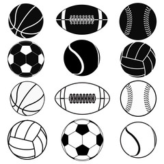 American football ball, Basketball ball, Baseball ball, Volleyball, Soccer ball, Tennis ball.