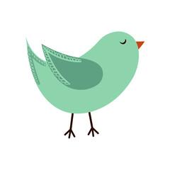 Pretty and Cute Colorful Bird in flat design
