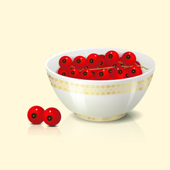 white bowl with red currant shadow and reflection on a light bac