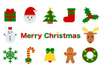 Christmas クリスマス イラスト アイコン カラフル