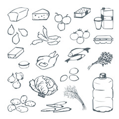 Good food doodle set various products