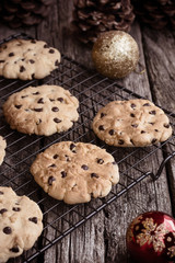 Home baked chocolate cookies on cooling rack at Christmas time