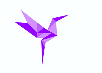 Illustration in the style of origami. Hummingbird