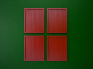 blank frame on interior wall red and green christmas tone color