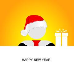 happy new year with snowman orange vector