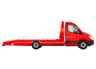 Flatbed recovery vehicle on the white background. Raster illustration.