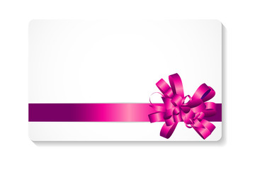 Gift Card with Pink Bow and Ribbon Vector Illustration