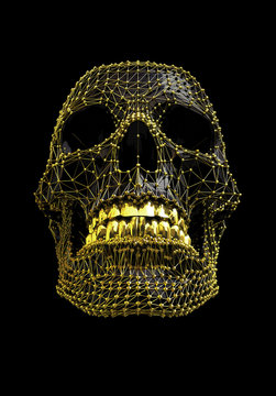 Skull with Gold mesh structure and Black polygonal surface - abstract illustration - work path saved within the file