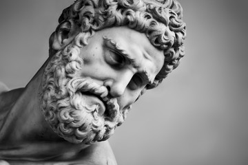 Acrylic Prints Historic monument Ancient sculpture of Hercules and Nessus. Florence, Italy. Head close-up