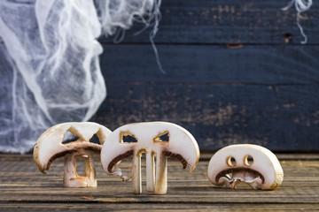 Three slices of Halloween champignons
