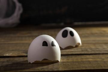 Funny cracked hen eggshell