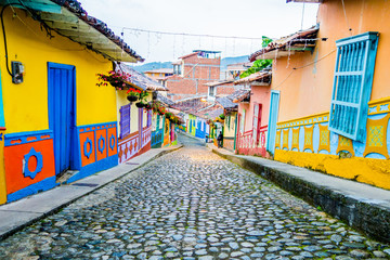 Beautiful and colorful streets in Guatape, known as town of Zocalos. Colombia