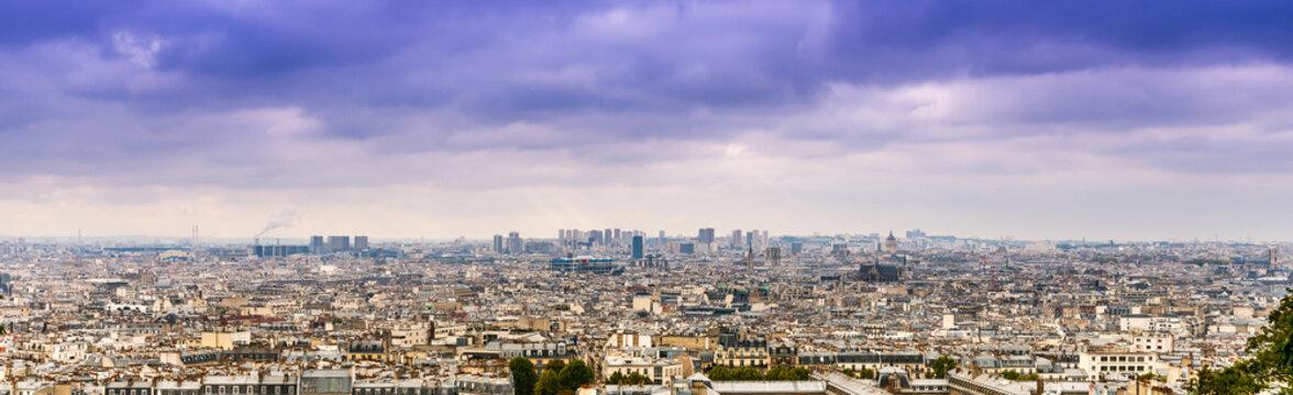 Panorama de Paris depuis la butte Montmartre, Paris en île de France, France