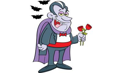 Cartoon illustration of a vampire holding roses.