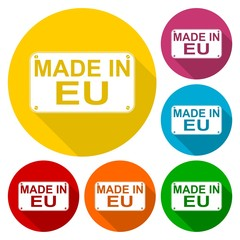 Made in EU icons set with long shadow